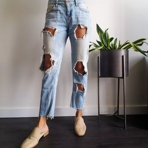 ZARA Z1975 Destroyed Girlfriend Denim